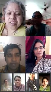 An online meeting conducted by an examination committee